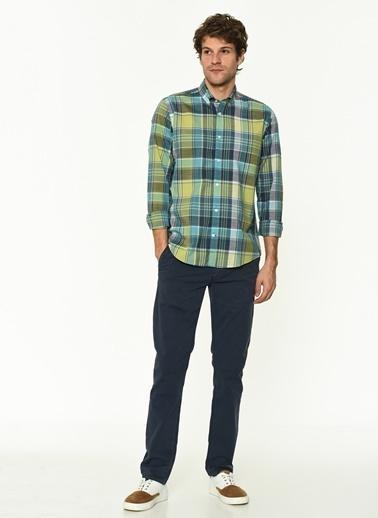 George Hogg George Hogg Düğmeli Yaka Uzun Kollu Slim Fit Nar Çiçeği Erkek Pamuk Gömlek Yeşil